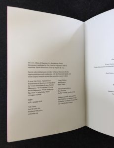 Colophon page, Quantum Art Manifesto